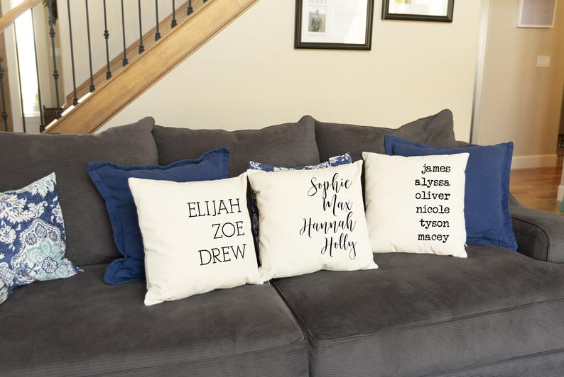 Pillows with Family Names